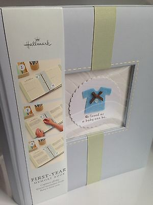 BRAND NEW! Hallmark Baby Boy 1st Yr Memory Photo Album Scrapbook, Shower Gift