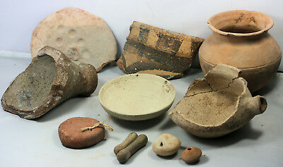 Various ancient pottery objects, vessels and fragments - 11 pieces