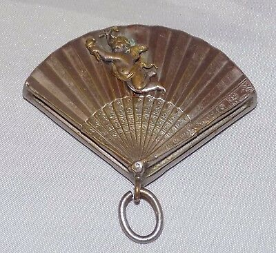 Antique EP Silver Fan Shaped Chatelaine Hand Mirror with Cherub Putti in Relief