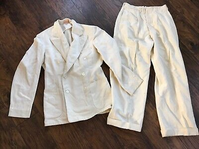 Vintage 1930's 20's Gatsby Linen Palm Beach Suit Double Breasted Costume