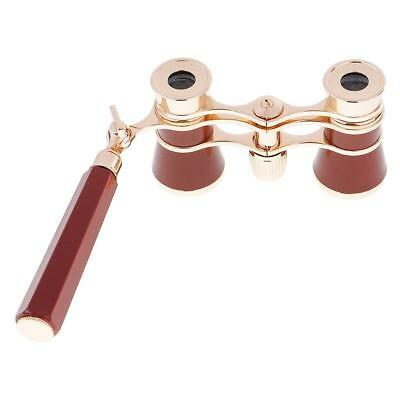 3X25 Wine Red Theater Opera Glasses Binoculars with Handle & Storage Bag