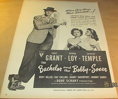 Movie Ad---BACHELOR & THE BOBBY-SOXER---<1947>---CARY GRANT-SHIRLEY TEMPLE