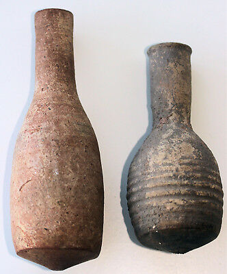 Two Roman or Hellenistic pottery flasks / unguent vessels