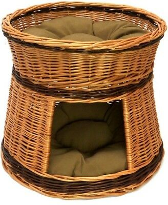 Two Tier Cat House Basket Handmade Willow Soft Pillows Pet Cat Lounge Bed Sale