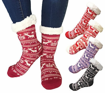 Ladies Womens Girls Fairisle Print Xmas Festive Winter Warm Cosy Slipper Socks