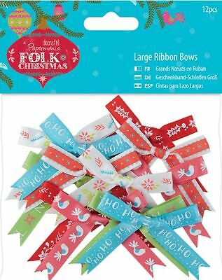 Docrafts Papermania ~ FOLK CHRISTMAS ~ Large Ribbon Bows (12 pack)