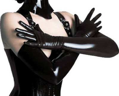 Sexy/Sissy PVC Fetish Bondage Ladies Black Gloves Role-Play (INT)