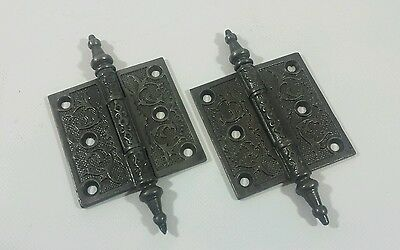 "Antique Vintage Set Victorian 3"" x 3"" Steeple Pin Door Hinges 100%Restored LOT 2"