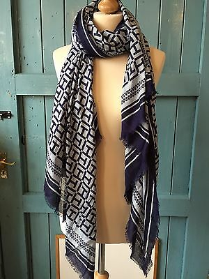 Tommy Hilfiger Tile Print Scarf, Blues BNWT RRP £45
