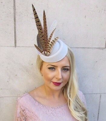 Grey White Brown Pheasant Feather Pillbox Hat Hair Fascinator Races Clip 4012