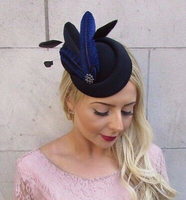 Black Royal Blue Feather Pillbox Hat Hair Fascinator Races Clip Wedding Vtg 4014
