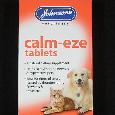 Johnsons Calm-Eze 36 Tablets To Help Soothe Hyperactive Nervous Pet Cats & Dogs