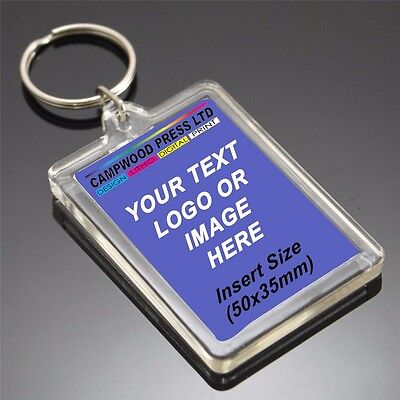 Bulk x 100 Personalized keyrings 35MM x 50MM BRAND NEW IN PACKETS