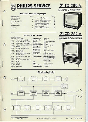 Philips Service Fernseher 1959/60: Leonardo L Vollautomatic 21TD290A, 21CD292A