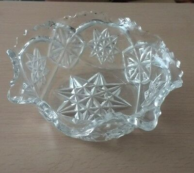 Vintage Large, Heavy Pressed Glass Bowl with Sawtooth Edge Ruffle Rim
