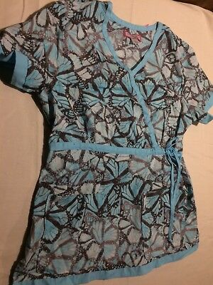 Womens Koi (by Kathy Peterson) Blue Butterflies Side Tied Scrub Top Size Large