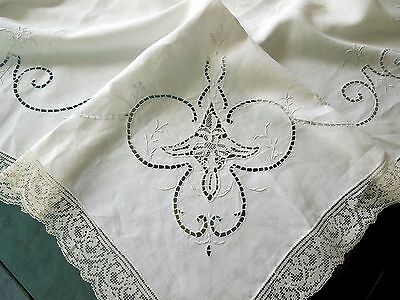 Italian Point de Venise Tablecloth Hand Embroidery Cut & Drawn Work Filet Lace 1