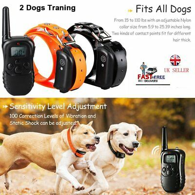 UK 2 Dogs Pet Training Shock E-Collar Rechargeable LCD Remote Control Anti-Bark