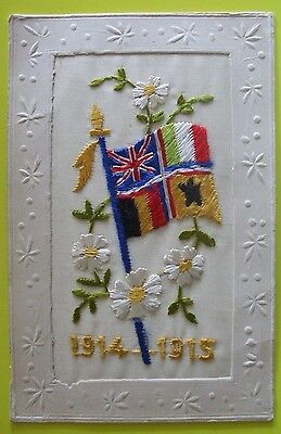 1914-1918 WORLD WAR 1 SILK Postcard FLAGS OF ALLIES 1914 - 1915