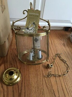 LIGHTOLIER NOS French Colonial Williamsburg Style Brass Lantern Chandelier