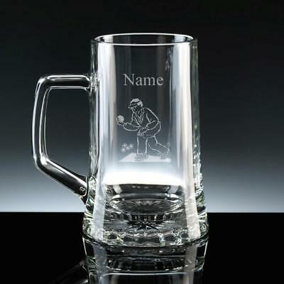 PERSONALISED ENGRAVED LAWN BOWLS STERN BEER GLASS TANKARD Birthday NEW