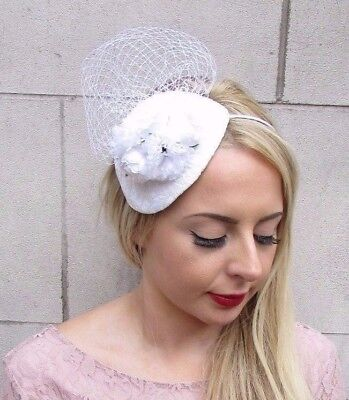 White Ivory Rose Flower Fascinator Teardrop Races Wedding Headband Net Vtg 4030