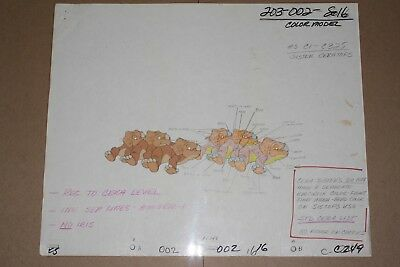 Original Animation Production Model Cel and Drawing from Land Before Time
