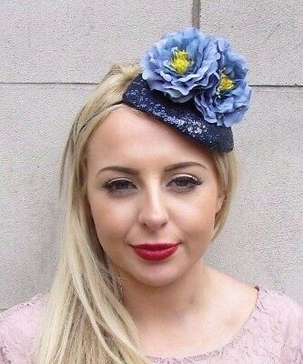 Navy Slate Blue Flower Fascinator Teardrop Races Wedding Headband Headpiece 4032
