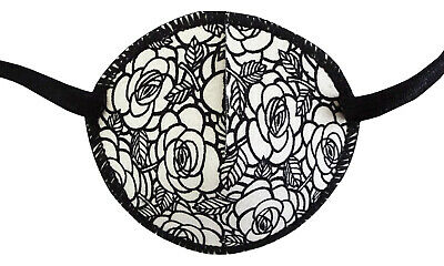Medical Eye Patch, WHITE ROSES, Soft and Washable for Right or Left Eye