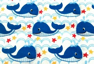 """NEW, HANDMADE """"WHALES"""", 35x43in BLUE FLANNEL BOYS BABY/TODDLER  QUILTED BLANKET"""