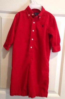 Ralph Lauren Polo Boys 12 Month Red Corduroy Long Sleeve Romper Outfit