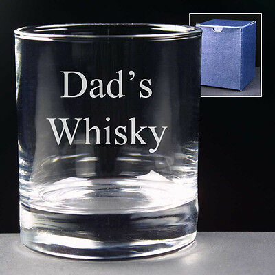 DAD'S WHISKY Large 10oz Glass FREE ENGRAVING Personalised Message on Back Gift