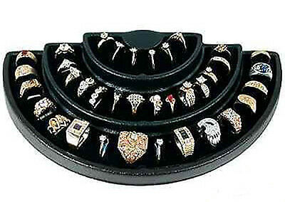 Black 36 Slot 3 Tier Ring Display Jewelry Stand Foam Insert