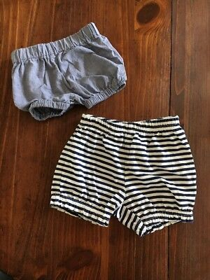 Set of 2 Baby Bloomers Stripes Chambray Denim Shorts 0-3 Months Wee Delights