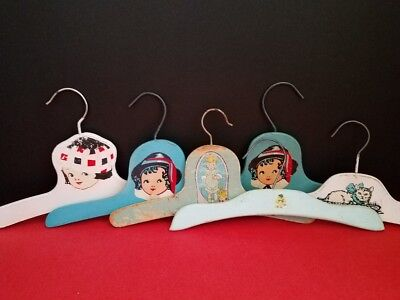 SIX Vintage CHILDREN'S  Painted WOOD HANGERS With DECALS as is