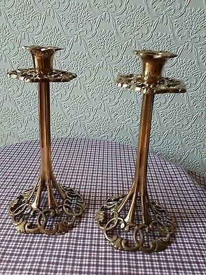 Antique Art Nouveau style solid Brass pair of stylish Candlesticks