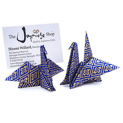 Pack 10 Blue Origami Crane Name Card Holder