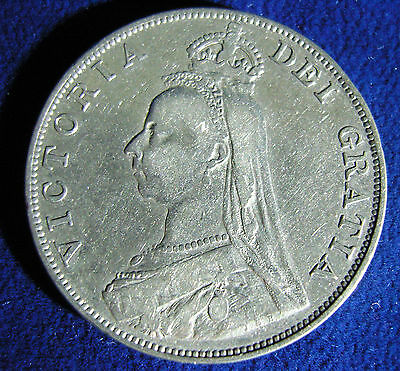 1889 Victoria Double Florin Four Shilling Silver Coin Inverted 1 Great condition