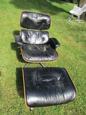 Charles Eames Herman Miller  Rosewood Black Leather Chair & Ottoman E100 Py