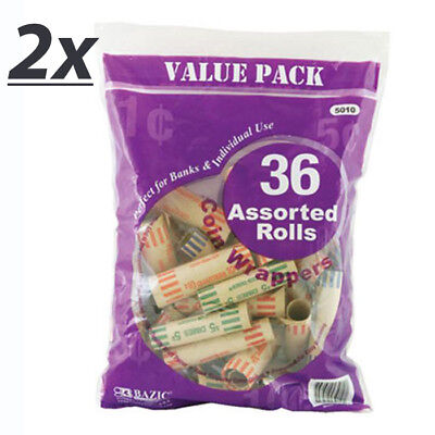 2 Pack - Penny Nickel Dime Quarter Assorted Size Coin Wrappers 36 Per Pack