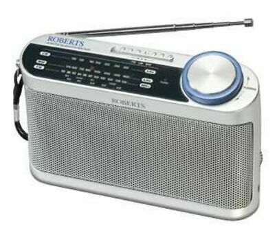 ROBERTS R9993 Portable Analogue Radio Silver FM Analogue Tuner Battery