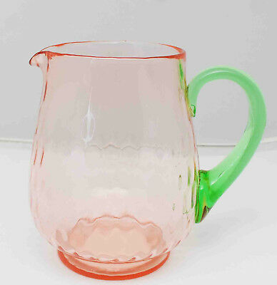 Antique Tiffin Pink Depression Green Vaseline Glass Pitcher Applied Handle