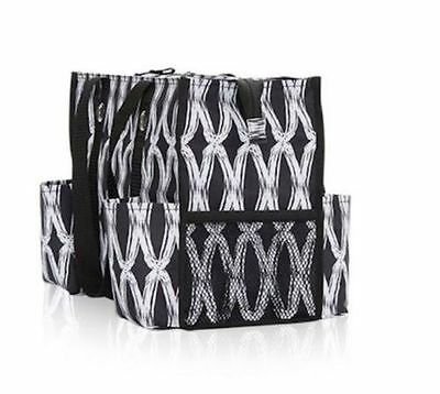 Thirty One Zip-Top Organizing Tote Black Links Utility Storage Travel bags