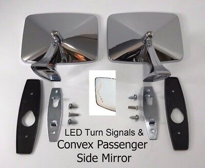 1973-1987 Chevrolet GMC Pickup Pair LED Truck Door Side Rear View Mirrors Convex