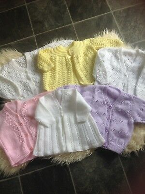 Lovely 6 New Handmade Girls Knitted Cardigans 6-18M Various Low/comb P&p 10P