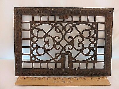 """Antique Iron Heat Grate 9.5"""" x 13.5"""" Two Tone Black & Brown 3.4 lbs"""