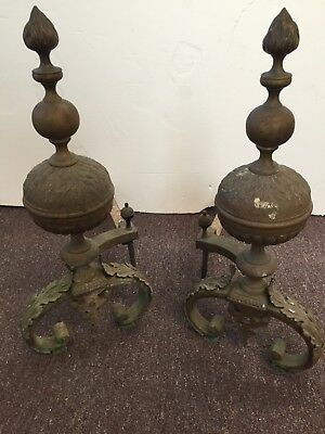 Pair of early 19th C. French Rococo bronze andirons