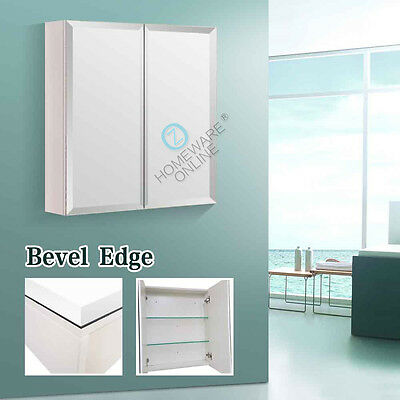 600 x 720x150mm Bevel Edge Shaving Cabinet Medicine Bathroom Mirror Vanity White