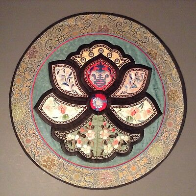 Antique Chinese Embroidery Silk Circular Panel