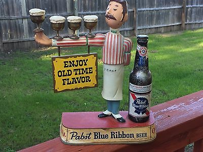 Vintage Pabst Blue Ribbon Beer Bar Display With Waiter - Bartender Cast Iron Pbr